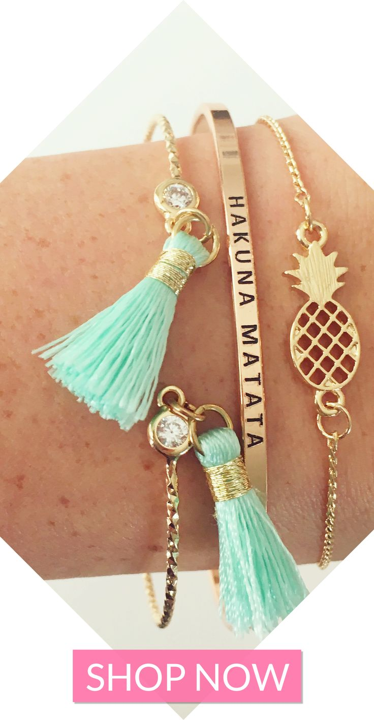 Gorgeous affordable jewelry from elleandk.com + FREE SHIPPING ON EVERY ORDER! | bracelet stacks | arm party | pineapple bracelet | hakuna matata | tassels | tassel jewelry | tassel bracelet
