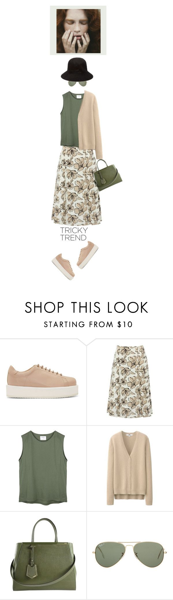"""""""New Pair of Platform Sneakers'"""" by dianefantasy ❤ liked on Polyvore featuring SILENT by Damir Doma, M&Co, Uniqlo, Fendi, Ray-Ban, Forever 21, platformsneakers and polyvoreeditorial"""