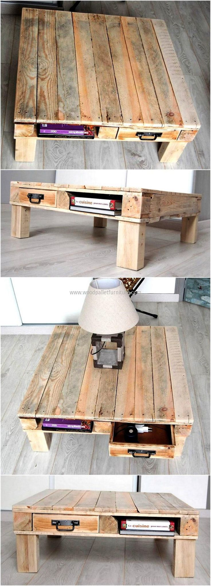 There are people who love to read books and they need a specific place where they can set them and also sit there to enjoy reading. So, we have added this idea of shipping pallet table creation with the space to place the books as well as sitting at it doesn't require a chair because the size is small.