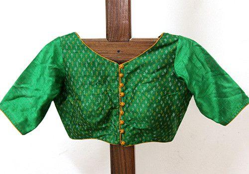 Green Silk Ikat Blouse Design 2 – Desically Ethnic