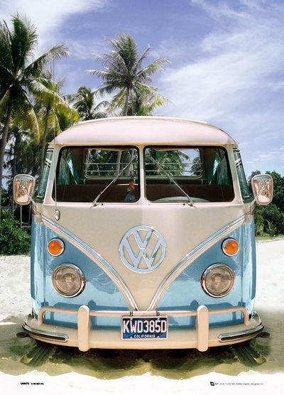 Turquoise VW Camper Van.