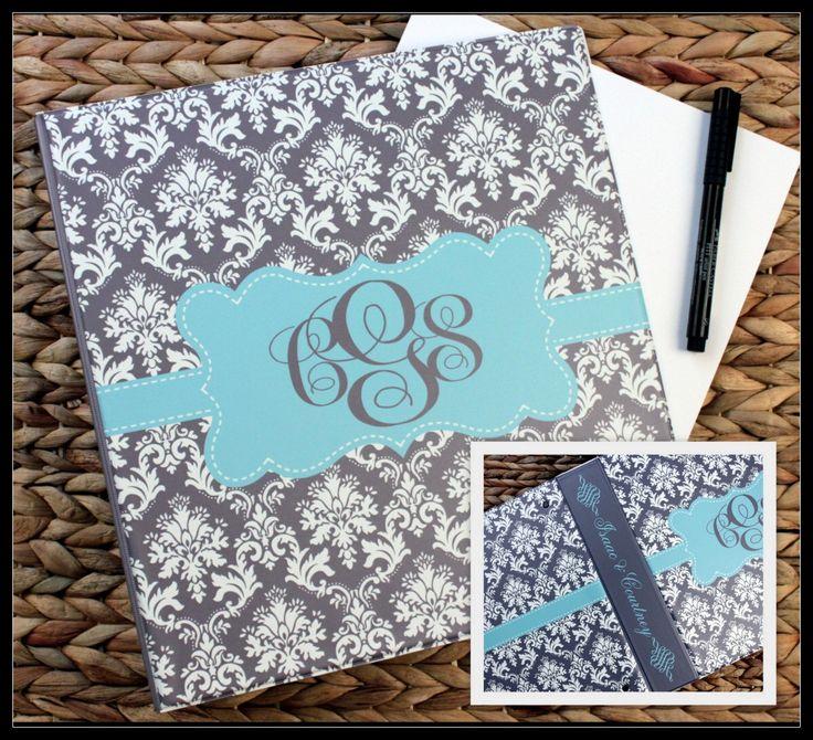 Wedding Album Binder Scrapbook Recipe Ancestry Bridal Shower Cookbook Photo School Notebook Coupon Organizer Planner Baby Baseball Cards by ChicMonogram on Etsy https://www.etsy.com/listing/235163808/wedding-album-binder-scrapbook-recipe
