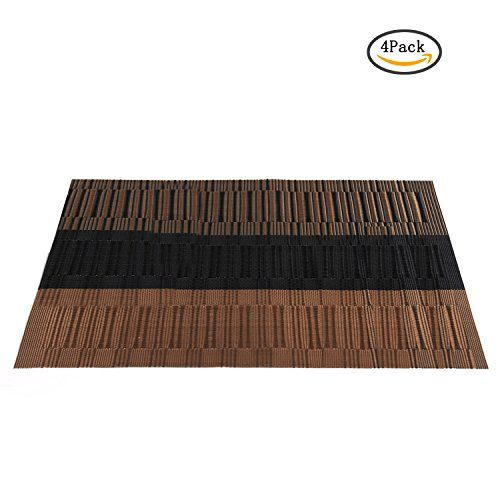 PVC Placemats Heat-Resistant Placemats for Home Kitchen Washable Table Mat for Dining Table Non-Slip Woven Vinyl Kitchen Placemats-Table Protector Set of 4 (Coffee)