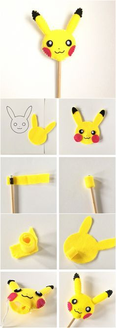 Pikachu Pokemon Felt Pencil Topper DIY. Cute kids craft for back to school!
