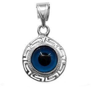 JewelryAffairs Greek Key Double Sided Evil Eye Pendant In Sterling Silver.