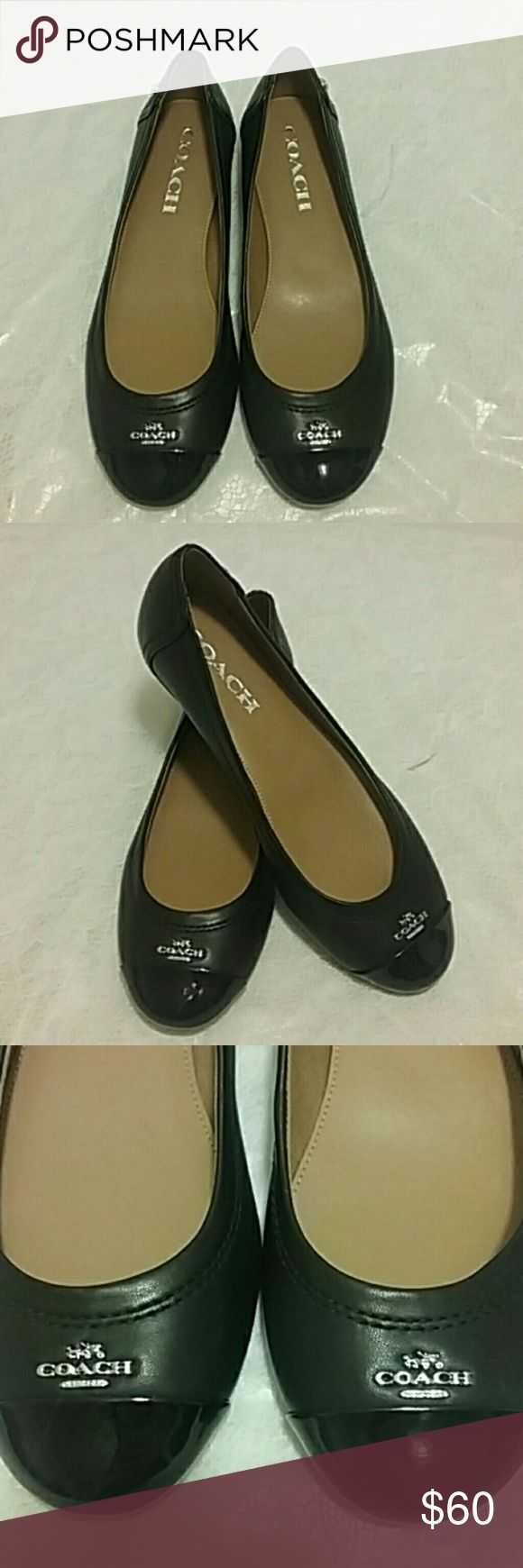NEW Coach Flats Brand new black Coach flats insole is light tan says coach front toe has coach logo & says coach in silver. top of toes are shiny black. NEW NEW NEW! ! ! coach  Shoes Flats & Loafers