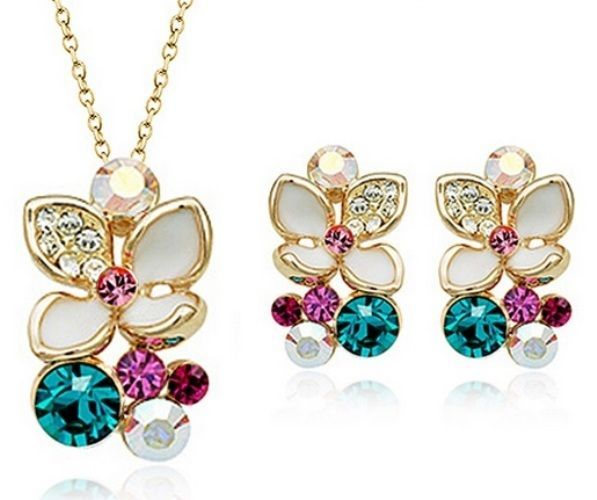 Gift Set Necklace Jewelry Earrings Pendant Xmas 18K Gold Plated Fashion Crystal #Unbranded