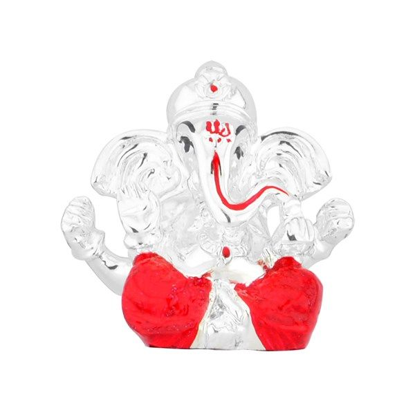 Jpearls Silver Plated Holy Ganesh Idol | Silver Statues / Murtis of Indian Gods