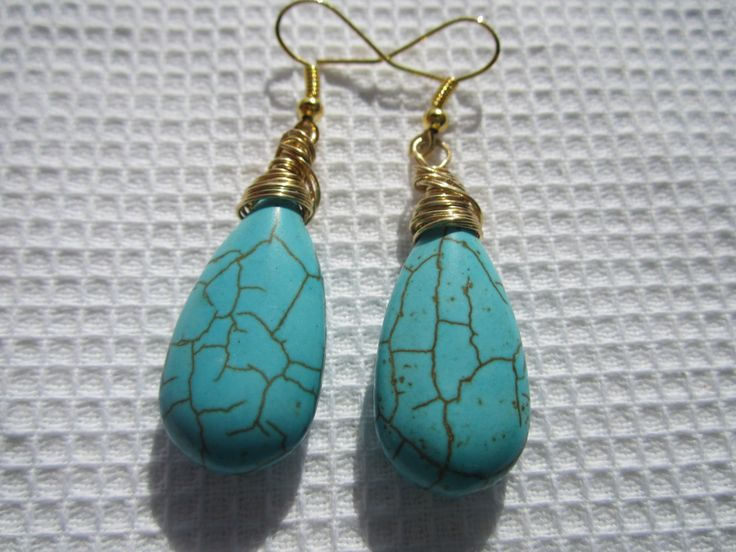 Turquoise Teardrop hand wire wrapped & Gold Plated earrings / Gothic / Victorian / Steam Punk / Royal by anandacollections on Etsy