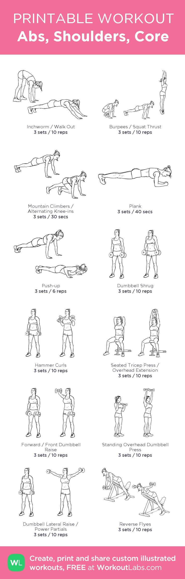 Abs, Shoulders, Core: my visual workout created at WorkoutLabs.com • Click through to customize and download as a FREE PDF! #customworkout