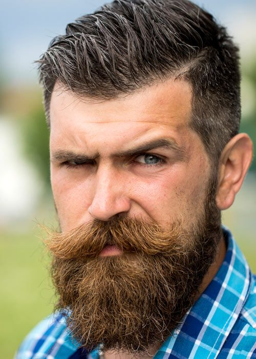 Full beard with handlebar