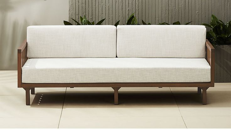 "tropez natural sofa $1,079. Off-white linen-like cushion in weather-resistant polyester fits perfectly with any outdoor decor. Best of all, cushion cover zips right off for easy cleaning. 82"" Depth: 32.25"" Height: 30.5"""