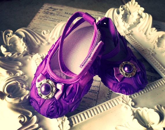 Baby Girl purple  Rosette Crib Shoes  ,Baby Shoes,Christening, Baptism, Wedding, Ready to ship on Etsy, $15.90