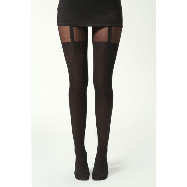 Boohoo Hannah Mock Suspender Tights (€13) ❤ liked on Polyvore featuring intimates, hosiery, tights, accessories, pants, socks, bottoms, nylon stockings, nylon pantyhose and nylon tights