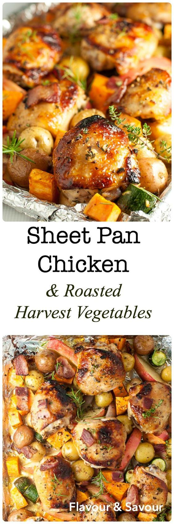 Bacon, apples and fresh herbs flavour this dinner of Sheet Pan Chicken and Roasted Harvest Vegetables. Crispy chicken and roasted vegetables make a complete meal, made in one pan, baked in just 30 minutes. |www.flavourandsavour.com