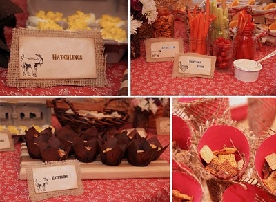 Burlap-vintage barn yard party: Food Display, Fall Parties, Food Ideas, Birthday Parties, Barnyard Parties, Farms Parties, Parties Ideas, Barnyard Birthday, Mason Jars