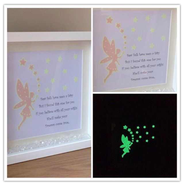 This fairy glow in the dark frame is just one of the many frames you can get 20% discount off if ordered today.  Perfect for any princesses room. Enter coupon code DISCOUNT20 orders must be placed before 12am.