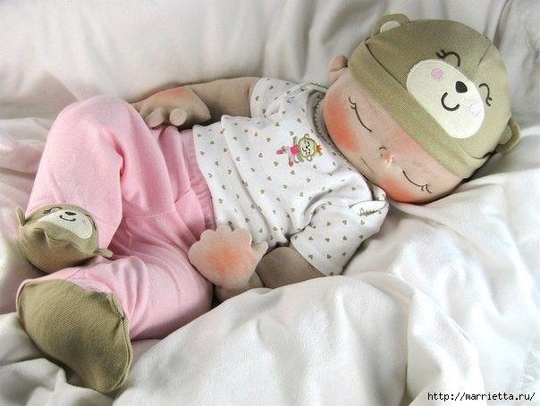 Mu eco de tela bebe durmiendo mu ecas mu ecos y - Como hacer un mueble cambiador de bebe ...