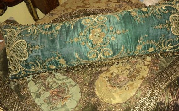 Antique Handmade Pillow Ottomon Parisian Silk Embroidered with Metallic Acron Trim Bullion