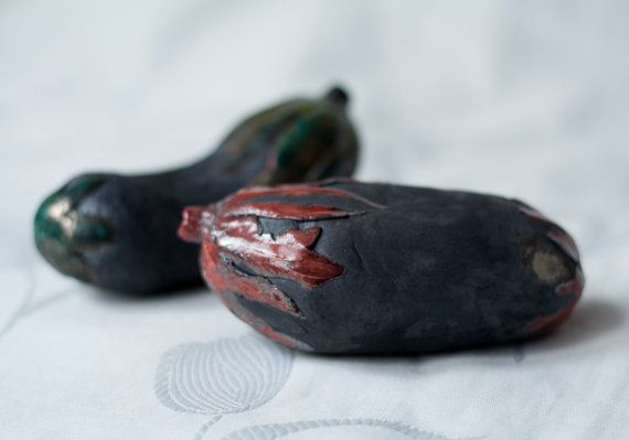 Eggplant aubergine ceramic sculpture raku red green by ClayLadyArt