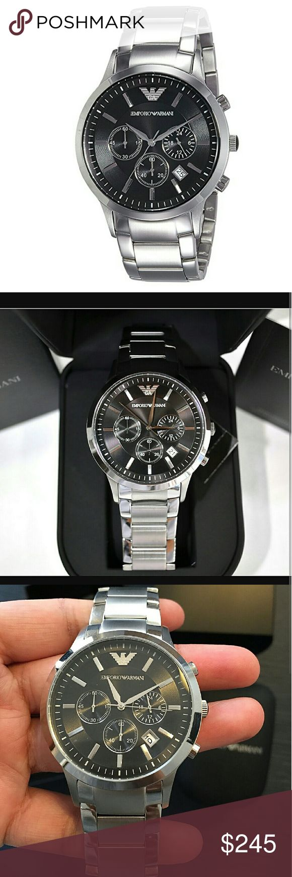 NWT Emporio Armani Chronograph Stainless watch NWT Emporio Armani Mens CHRONOGRAPH STAINLESS STEEL WATCH.    FIRM PRICE FIRM PRICE FIRM PRICE   $275.00 . AUTHENTIC WATCH  . AUTHENTIC BOX  . AUTHENTIC MANUAL     SHIPPING  PLEASE ALLOW FEW BUSINESS DAYS FOR ME TO SHIPPED IT OFF.I HAVE TO GET IT FROM MY WAREHOUSE.    THANK YOU FOR YOUR UNDERSTANDING emporio Armani  Accessories Watches