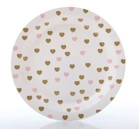 Sweetheart pink & gold paper plates