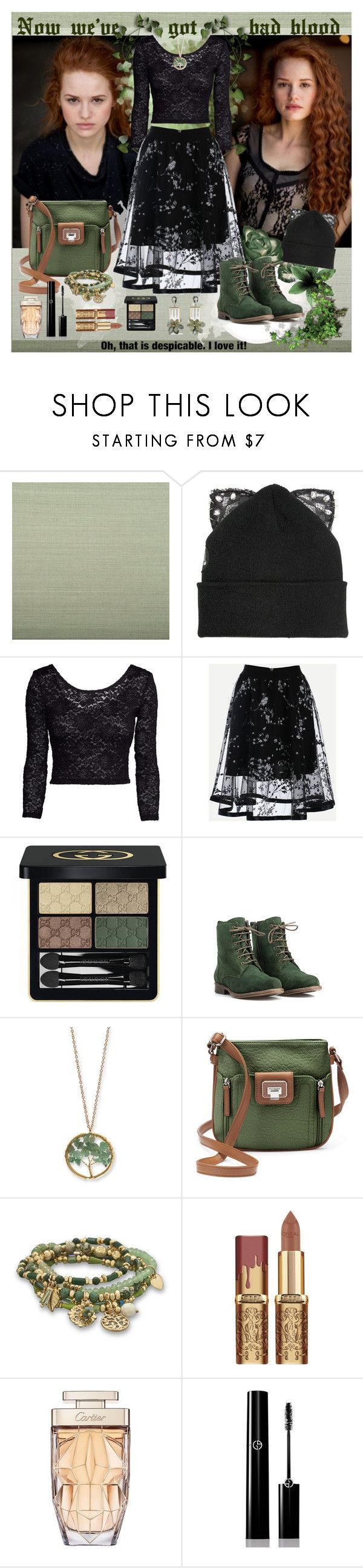 """""""Bad blood"""" by julyralewis ❤ liked on Polyvore featuring Ballard Designs, Silver Spoon Attire, H&M, Gucci, JJ Footwear, Kim Rogers, Rosetti, BillyTheTree, Cartier and Giorgio Armani"""