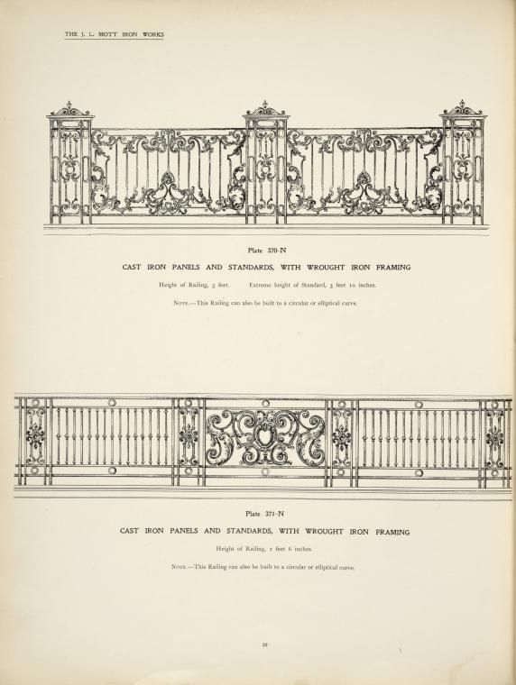 Cast iron panels and standards, with wrought iron framing.