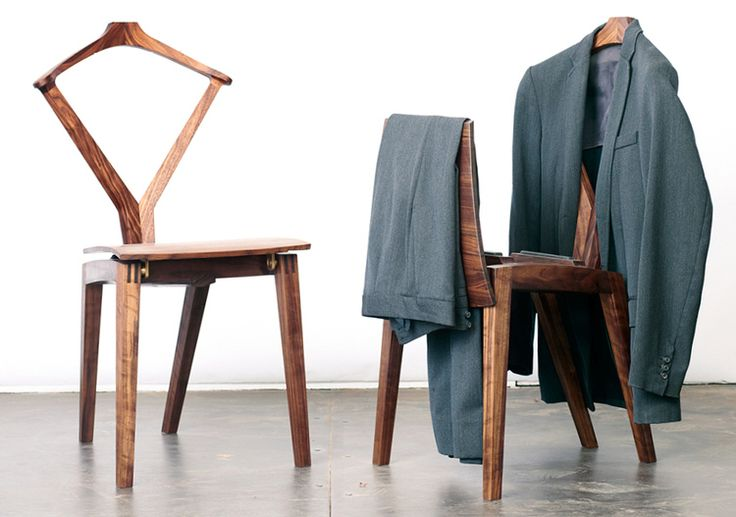 I just stumbled across Reed Hansuld's beautiful take on Hans Wegner's Valet Chair: Hansuld has gone with a more conventional four-legged design and an impossibly brave bridle joint to affix the back to the seat. Designer/builder Hansuld hails from Canada, is now based in Brooklyn, and is shockingly not