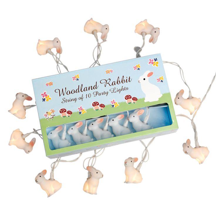 String Of 10 Woodland Rabbit Party Lights Bs Plug | DotComGiftShop