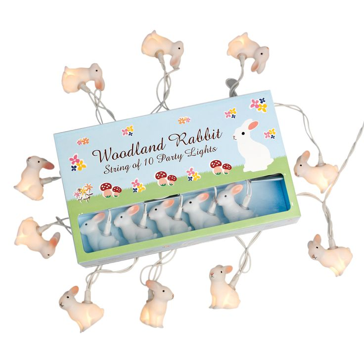 String Of 10 Woodland Rabbit Party Lights Bs Plug   DotComGiftShop