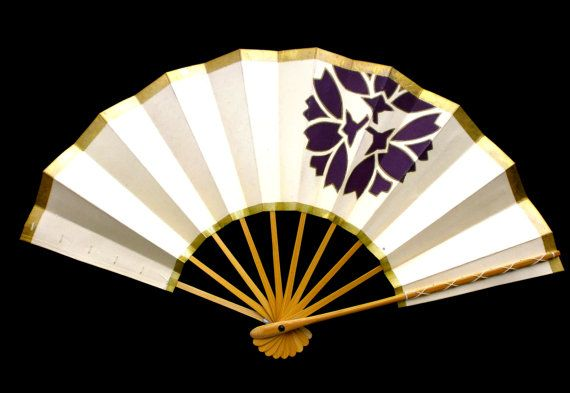 Japanese Dance Fan Mai Ogi Flower Gold Purple by VintageFromJapan, $18.00