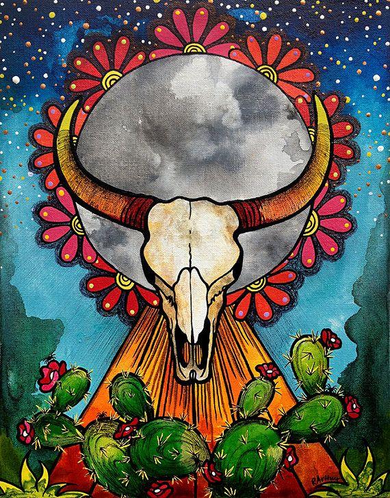 Cow Skull Giclee Print by Robin Arthur at https://www.etsy.com/listing/539595891/cow-skull-cow-skull-decor-cow-skull-wall   #cowskull