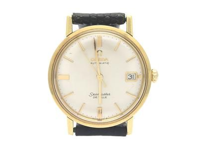 OMEGA, Seamaster, De Ville, Cal 562, Serial no. 20059610, Ref no. BA 166.0020, Case no. 166.020 SC-62, men´s wristwatch, 34,5 mm, 18K gold, self winding, plastic crystal, date, damaged dial, leather strap, original buckle in gold plated, approx 1962, case. #watches #omega #seamaster #deville #1962
