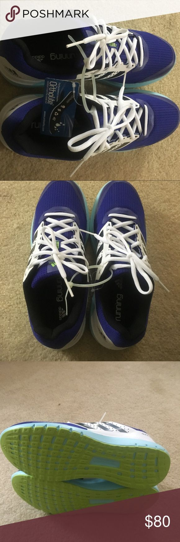 Adidas size 10 women's sneakers Adidas women's size 10 ortholite running shoe. Brand new never worn. Still attached with zip tie. Colors are purple, white, aqua blue and lime green bottom. adidas Shoes Sneakers