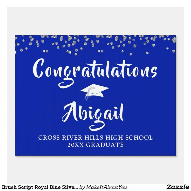 Brush script royal blue silver confetti graduation sign