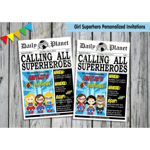 Girl Superhero Personalised Invitation - Digital - Ship Worldwide  http://www.lollipoppartysupplies.com.au/girl-superhero-personalised-invitation-digital