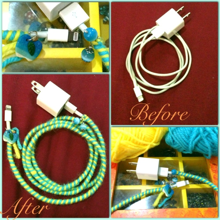 Diy wrap for iphone cable charger diy etc Charger cord organizer diy