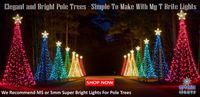 Pole Trees are really simple to make and create a great effect in your Christmas light display All you need are 16 small tent stakes, and a piece of 25mm or 40mm PVC and several strings of M5 or 5m...