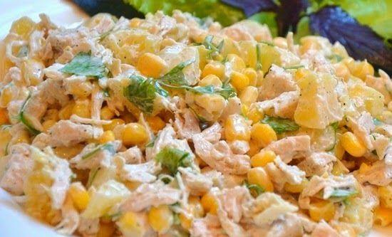 Ананасовый салат с  кукурузой   и курицей