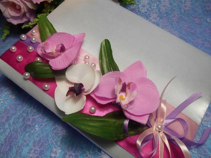 Папка для свидетельства о браке в декоре с орхидеями . Ручная работа.