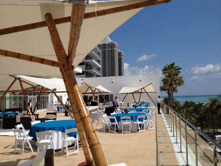 Six Solaris Fountain Blue Event Rental - Glimmer Terrace, Miami Beach, Florida.