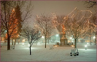 The plaza in Santa Fe. Snowy nights are the best.