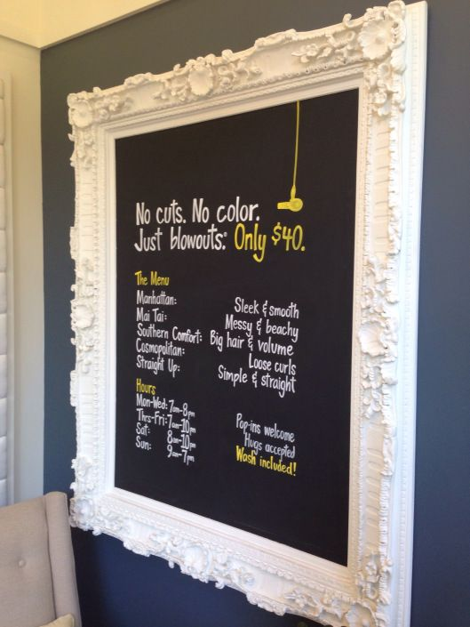 Chalk board inside the frame to display the latest new colour trends,(written), on the big wall then below the mood board - which are removeable for consultations