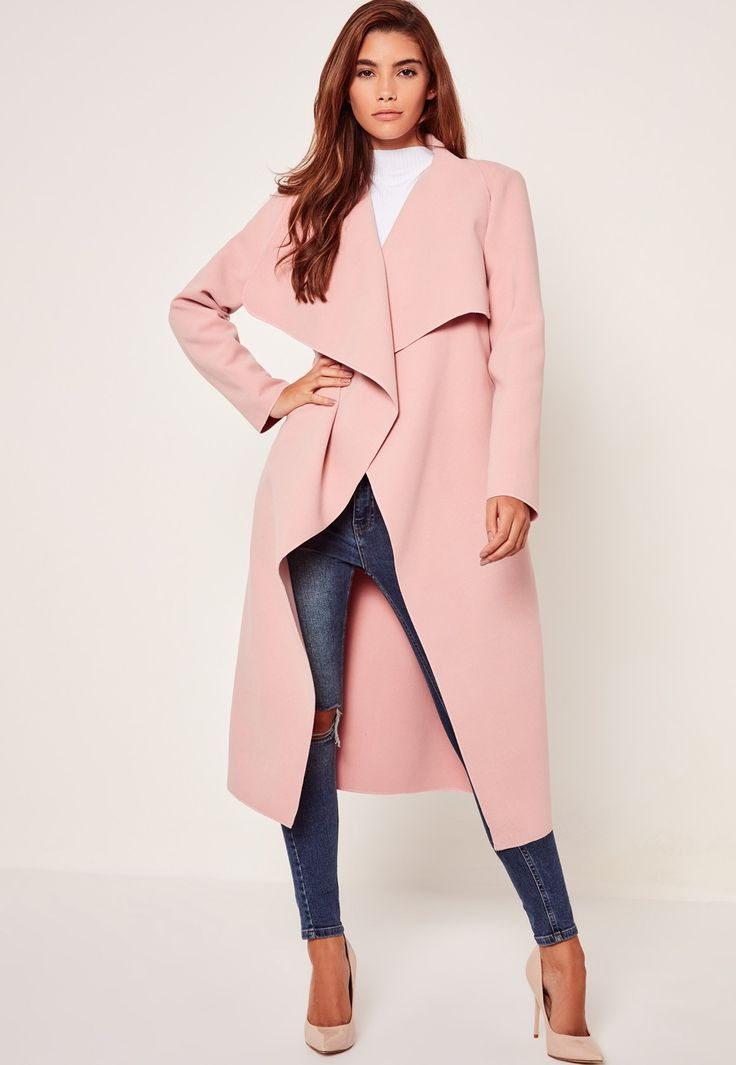 Missguided - Oversized Waterfall Duster Coat Pink