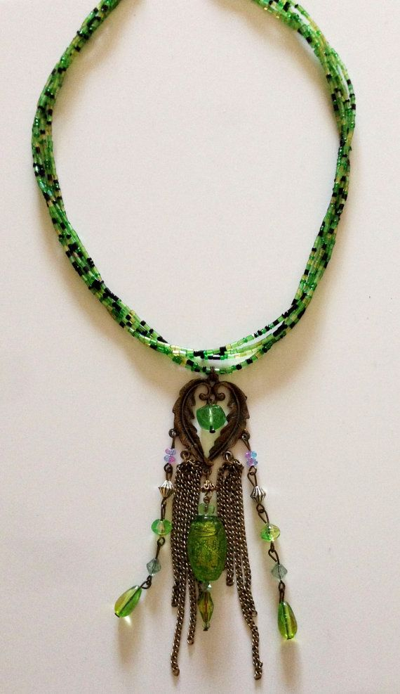 Green beaded statement necklace with upcycled by creativedogstwo, $65.00