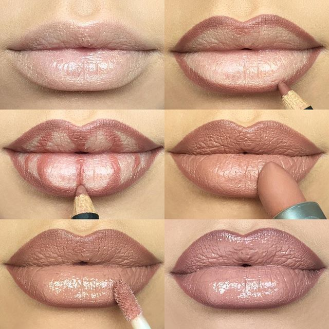 LIP CONTOURINGlips Step by step how to make your lips appear fuller kiss MAC Spice Lip Liner ● MAC Honeylove Lipstick ● MAC Oyster Girl Lipglass