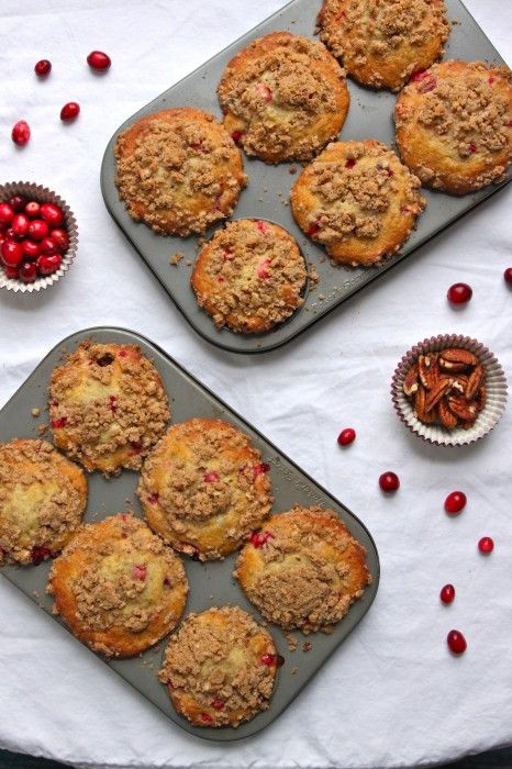 Banana Cranberry Muffins with Brown Sugar Pecan Streusel | Recipe