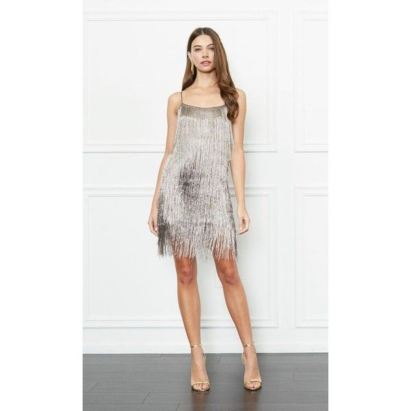 Rachel Zoe Della Metallic Fringe Mini Dress ($495) ❤ liked on Polyvore featuring dresses, metallic, short, rachel zoe dresses, fringe dress, metallic short dress, white dresses and mini dress