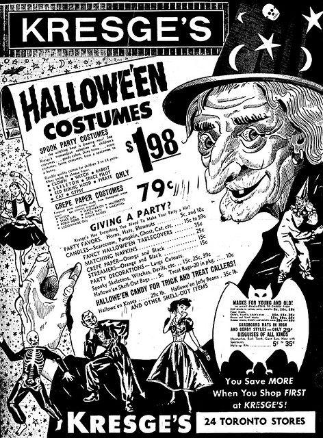 vintage halloween ad from kresges 1959